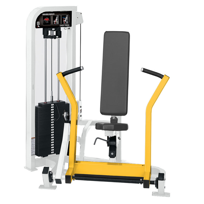 Hammer Strength Select Chest Press in white and yellow.