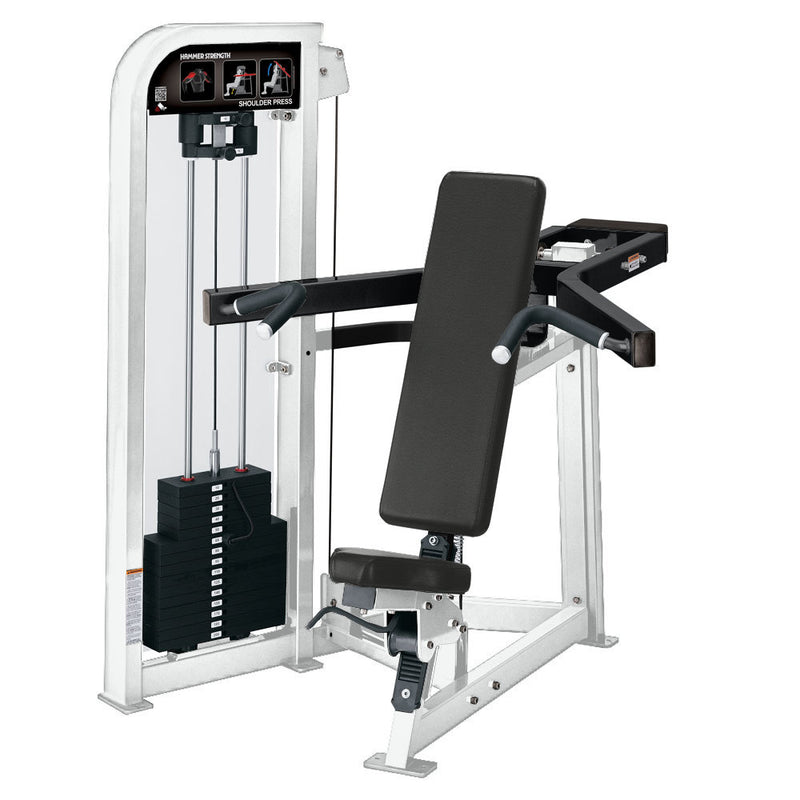 Hammer Strength Select Shoulder Press in white and black.