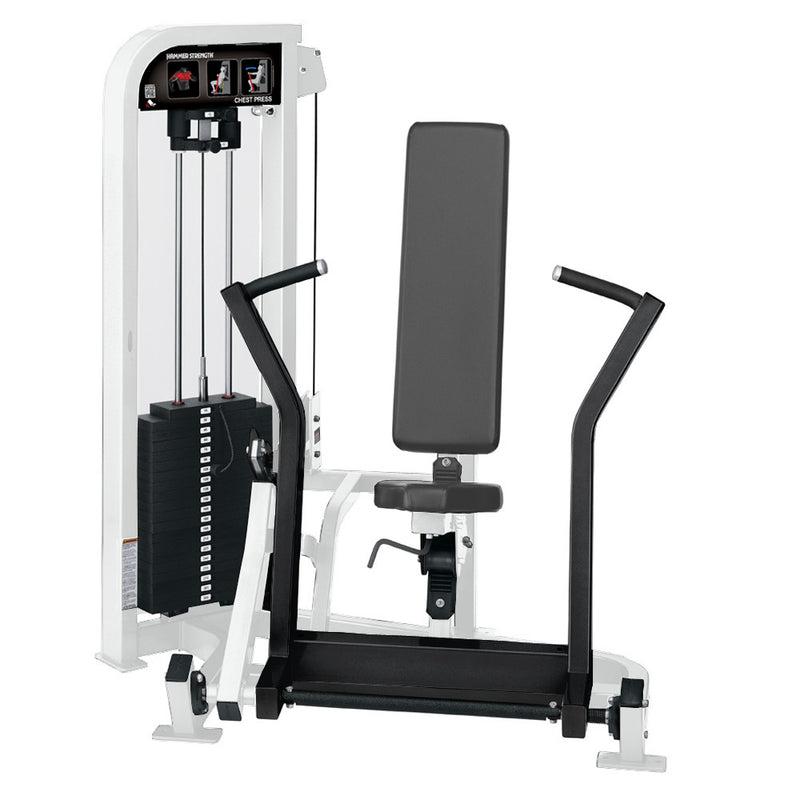 Hammer Strength Select Chest Press in white and black.