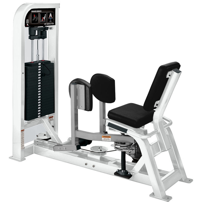 Hammer Strength Select Hip Abduction in white and platinum.