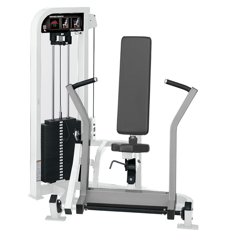 Hammer Strength Select Chest Press in white and platinum.