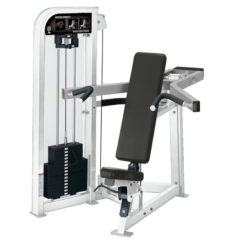 Hammer Strength Select Shoulder Press in white and platinum.