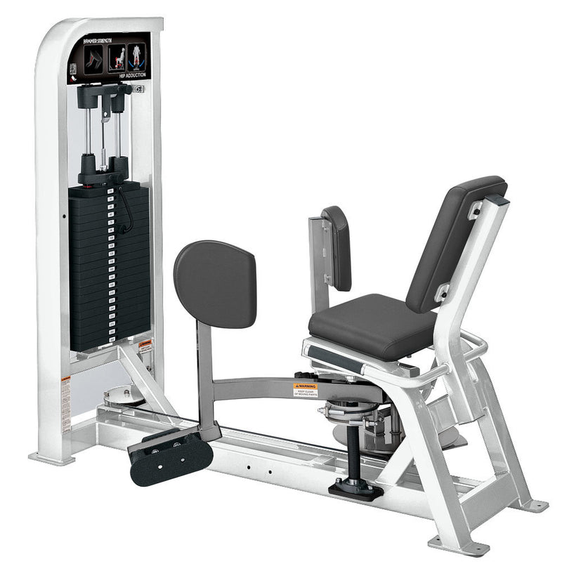 Hammer Strength Select Hip Adduction in white and platinum.