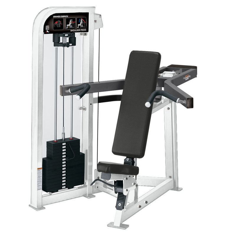 Hammer Strength Select Shoulder Press in white and titanium.