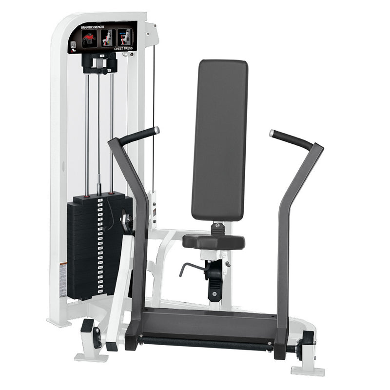 Hammer Strength Select Chest Press in white and titanium.