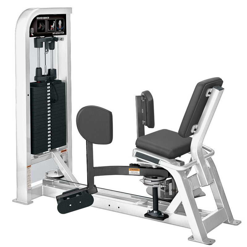 Hammer Strength Select Hip Adduction in white and titanium.