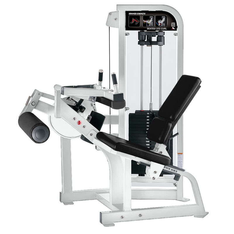 Hammer Strength Select Seated Leg Curl in white with black leather.