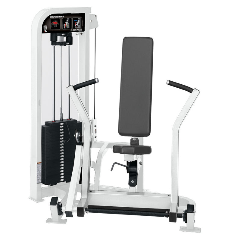 Hammer Strength Select Chest Press in all white.