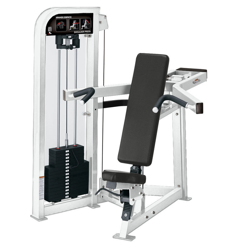 Hammer Strength Select Shoulder Press in all white.