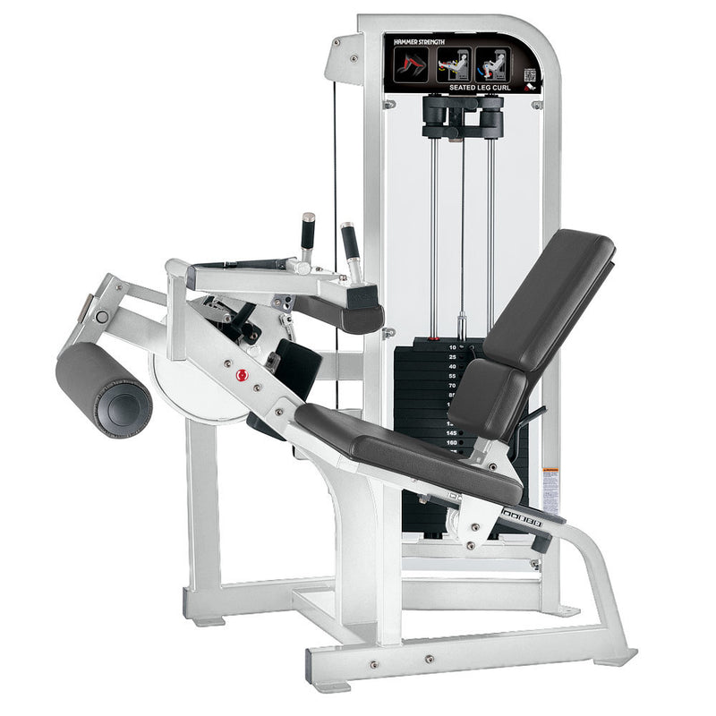 Hammer Strength Select Seated Leg Curl in white with slate leather.
