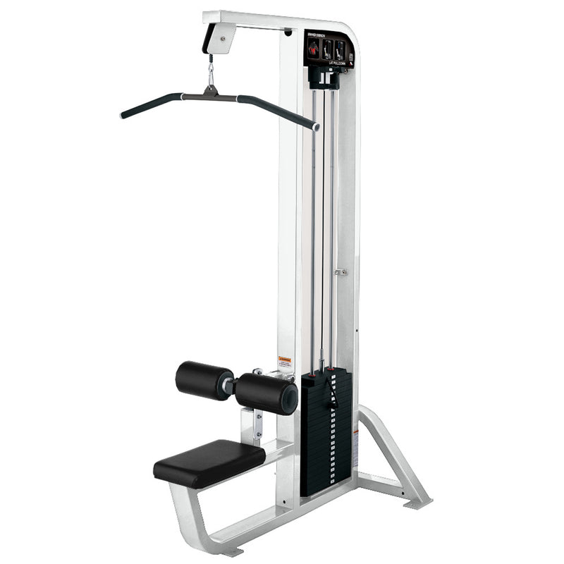 Hammer Strength Select Lat Pulldown in white with black leather.