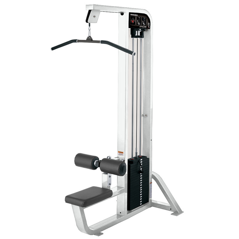 Hammer Strength Select Lat Pulldown in white with slate leather.