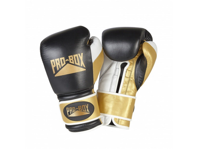 Back, white and gold boxing gloves with Pro-box logo.