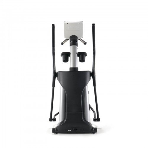 Behind view of black and siver elliptical trainer.