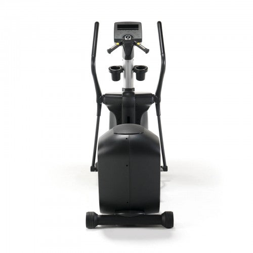 Front view of black and silver elliptical trainer.