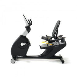 Sideview of black and silver recumbent bike.