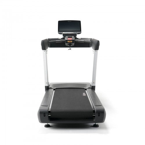 Behind view of black and silver intenza treadmill.