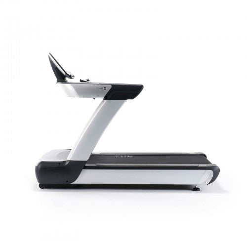 Sideview of black and silver intenza treadmill.