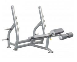 Polished look to an entirely silver decline bench press.