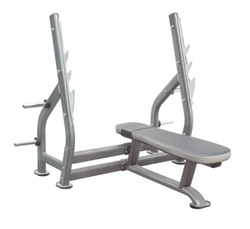 Polished look to an entirely silver flat bench press.