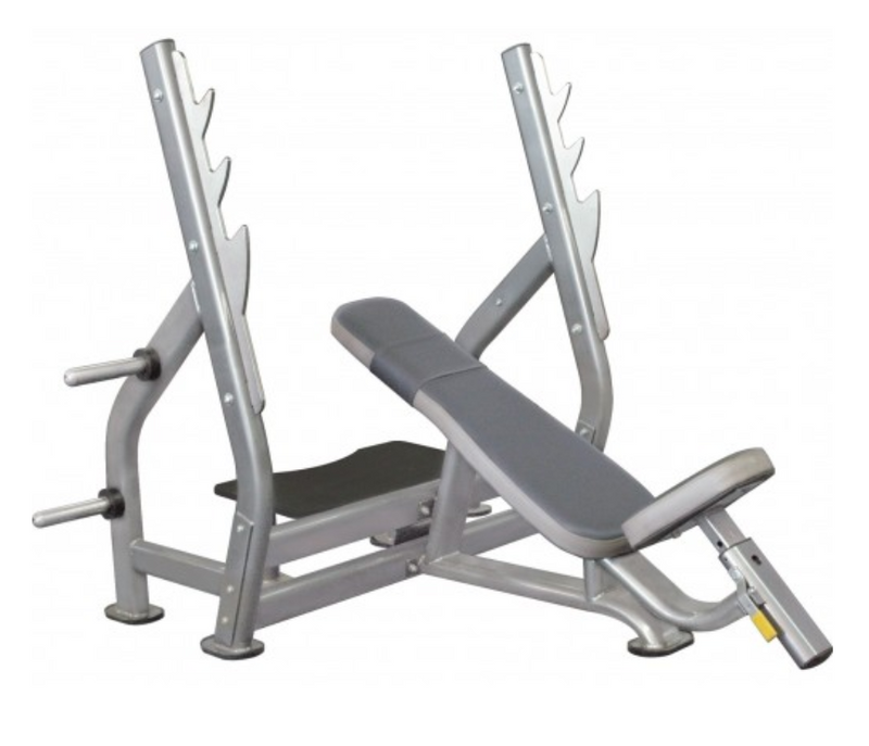 Polished look to an entirely silver incline bench press.