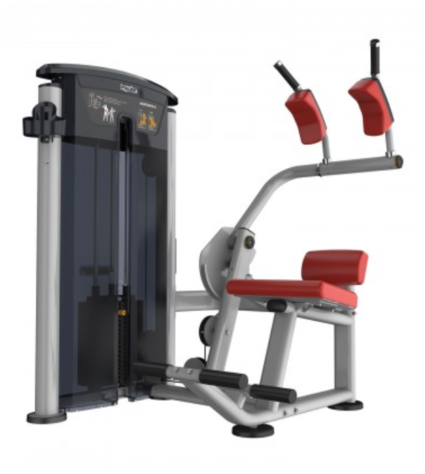 Abs machine with red seat and padding.