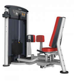 Abductor/adductor with red seat and padding.
