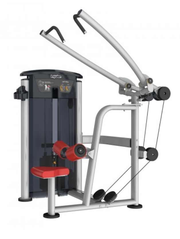 Silver machine lat pulldown with red seat and padding.