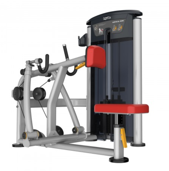 Low row machine with red seat and padding.