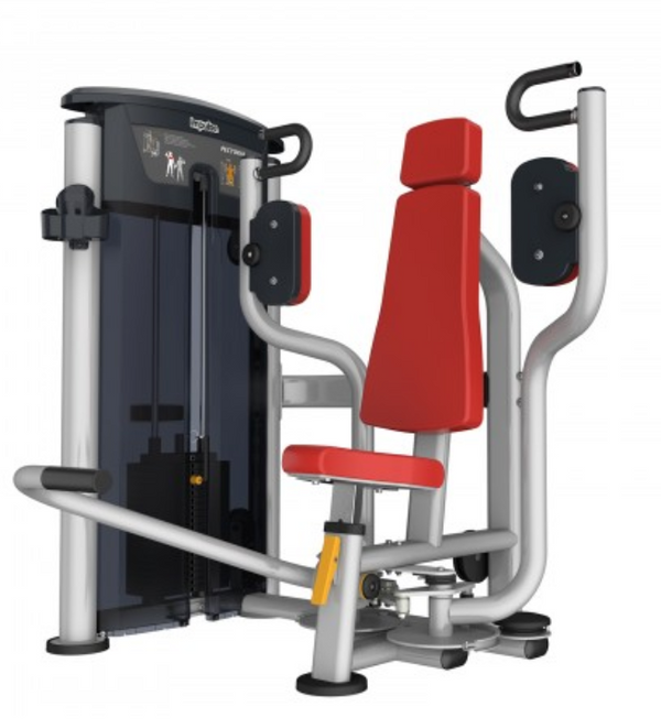 Pecdoral machine with black handles and red seat and padding.