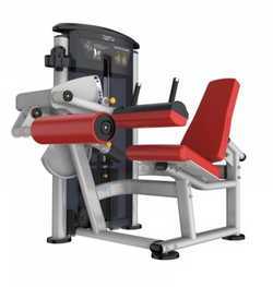 Leg curl with red seat and padding.