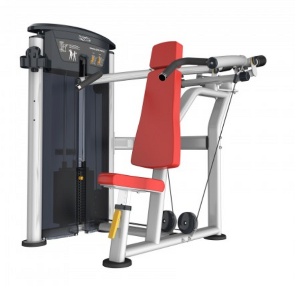 Shoulder press with red seat and padding.