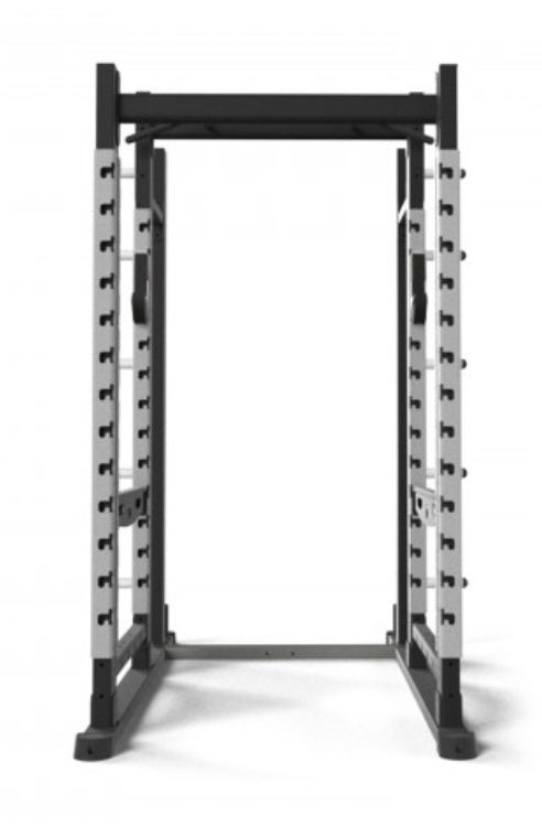 Front view of origin black and silver peformance rack.