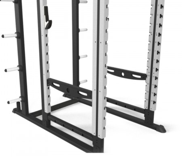 Sideview of back and silver origin performance rack.