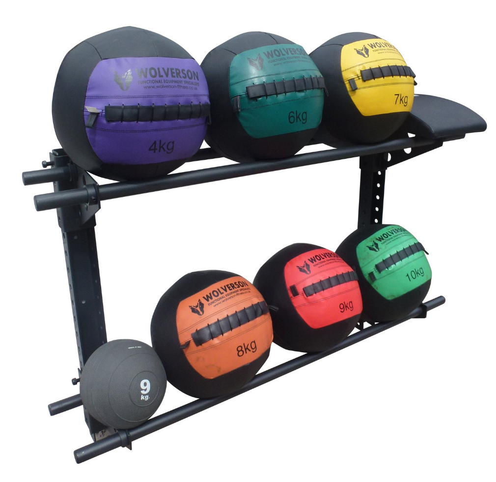 Wall ball storge rack with 7 different coloured balls on it.