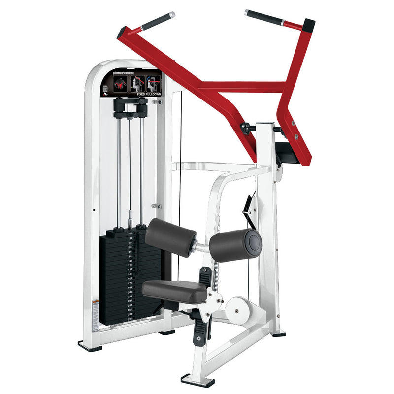 Hammer Strength Select Fixed Pulldown in white and red.