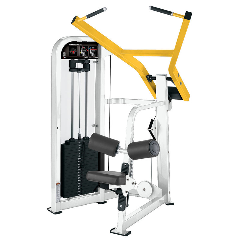 Hammer Strength Select Fixed Pulldown in white and yellow.