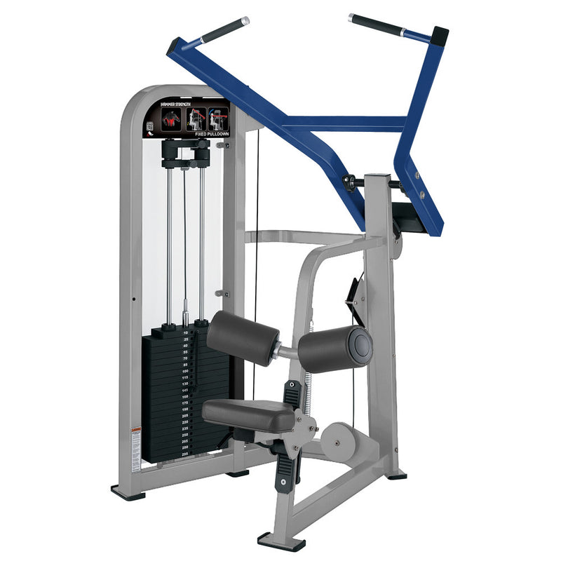 Hammer Strength Select Fixed Pulldown in platinum and blue.