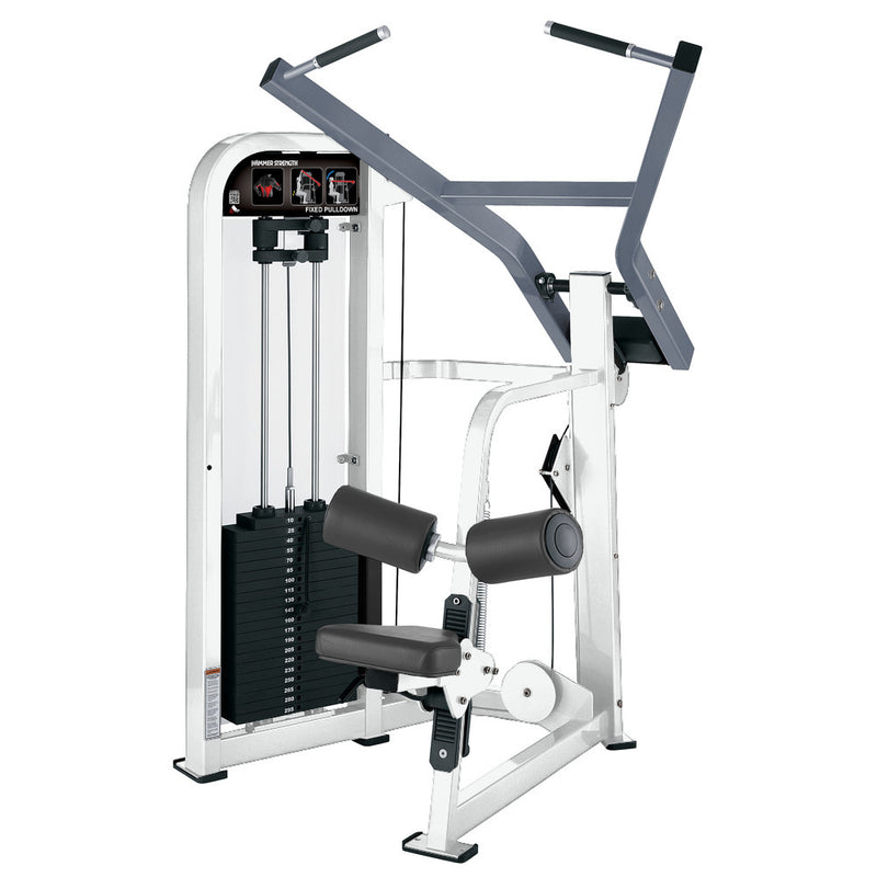 Hammer Strength Select Fixed Pulldown in white and ice blue metallic.