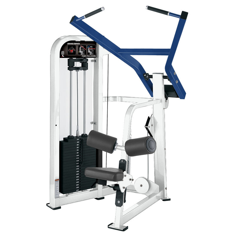 Hammer Strength Select Fixed Pulldown in white and blue.
