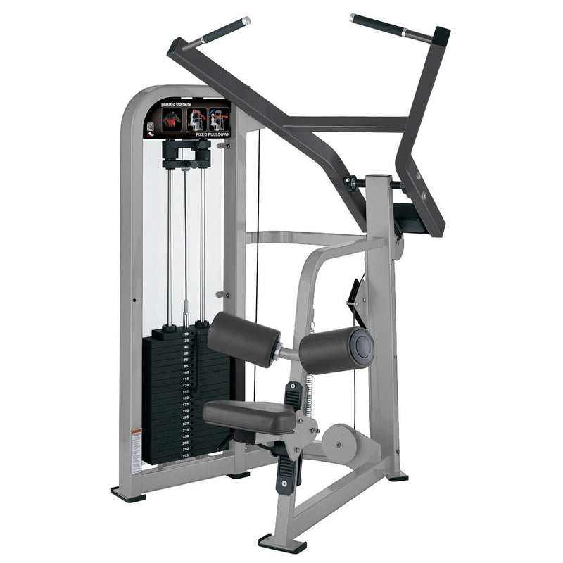 Hammer Strength Select Fixed Pulldown in platinum and titanium.