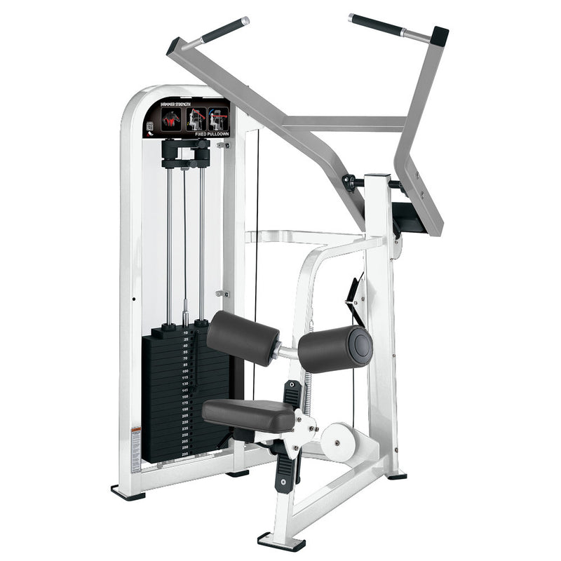 Hammer Strength Select Fixed Pulldown in white and platinum.