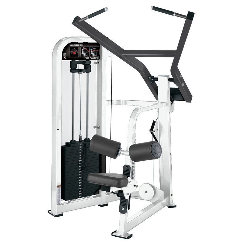 Hammer Strength Select Fixed Pulldown in white and titanium.
