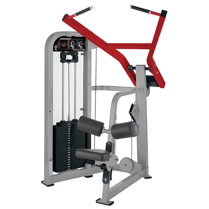 Hammer Strength Select Fixed Pulldown in platinum and red.