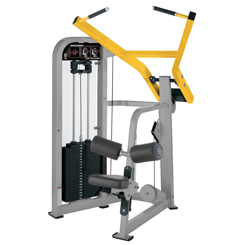 Hammer Strength Select Fixed Pulldown in platinum and yellow.