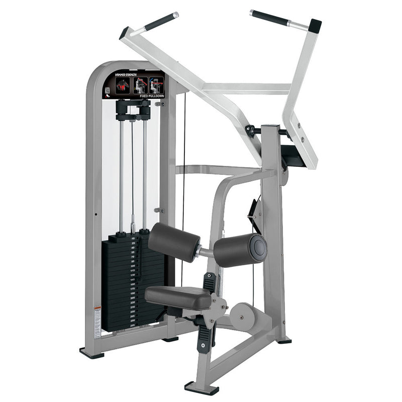 Hammer Strength Select Fixed Pulldown in platinum and white.