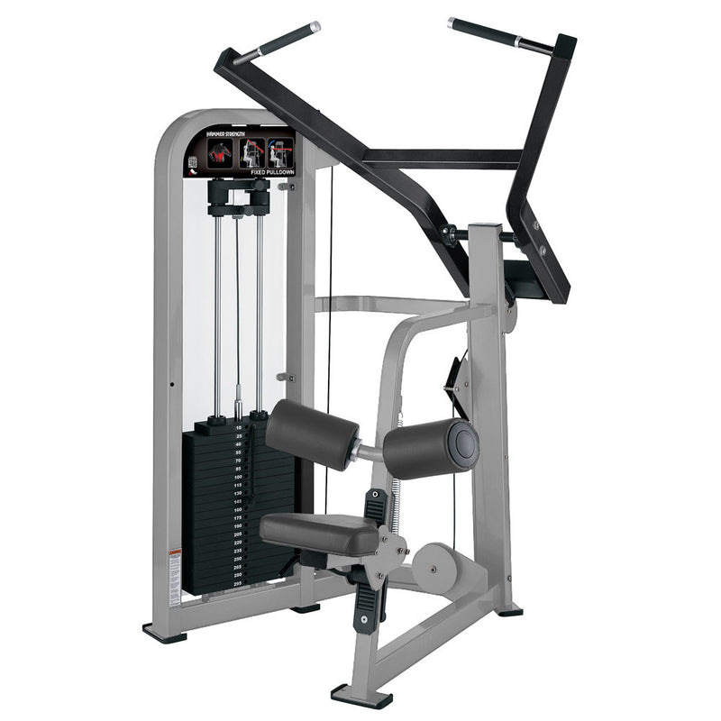 Hammer Strength Select Fixed Pulldown in platinum and black.