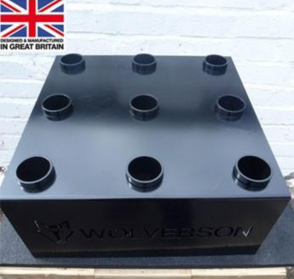 A black bar holder with 9 holes.