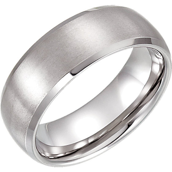 Tungsten Beveled & Domed Men's Wedding Ring - Michael E. Minden Diamond Jewelers