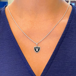 Las Vegas Raiders Cultured Diamond Enameled Pendant (SMALL)